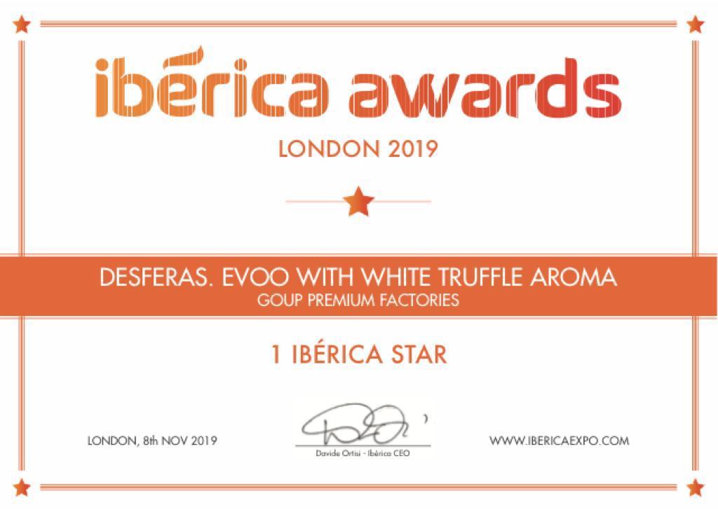 Premio Ibérica Awards a las Desferas Caviar de Aceite de Oliva Virgen Extra Aromatizado de Trufa